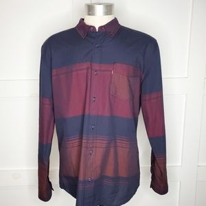 Levi's Blue Maroon Striped Button Down Shirt Large